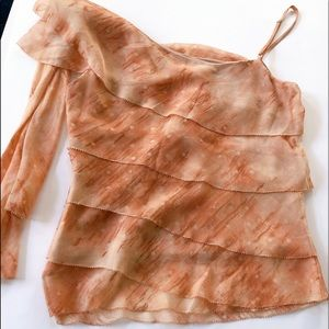 BCBGMaxAzria one shoulder silk blouse